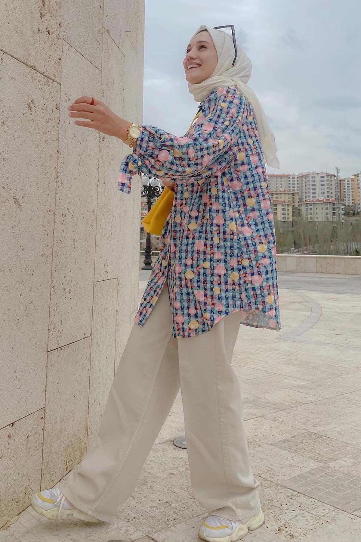Fatma Büşra'nın Lemon Desenli Gömlek Kombini