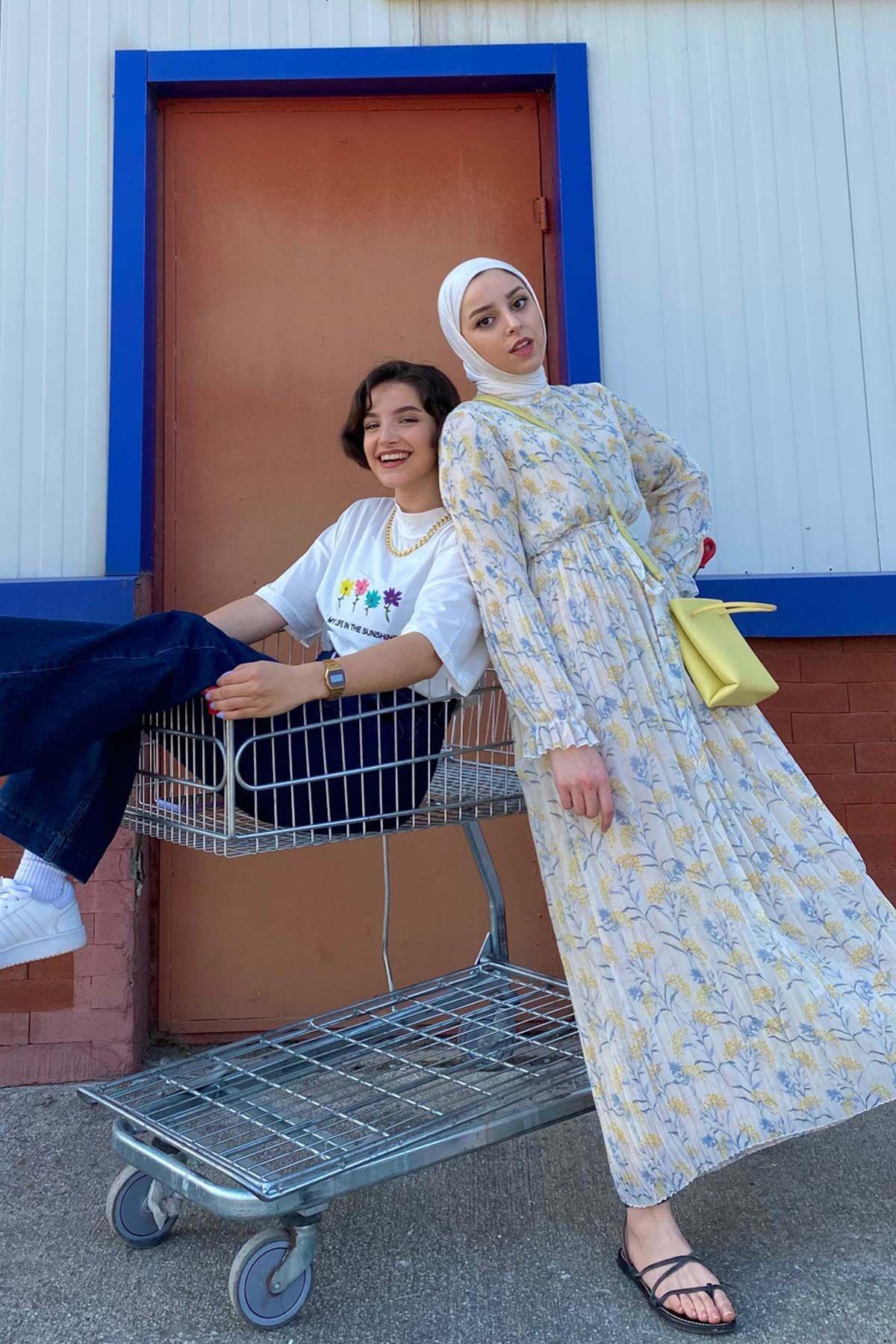 Ecmel'in Piliseli Şifon Elbise Kombini