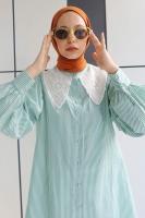 Bihter'in Yaka Detaylı Gömlek Kombini - Thumbnail