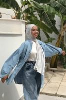 Aysha'nın Büzgü Detaylı Denim Gömlek Kombini - Thumbnail